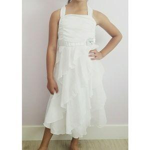 BCX White Ruffly Dress Girls Size 16